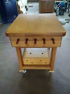 Details About Kitchen Island In Solid Oak With Original Maple Butcher S Chopping Block