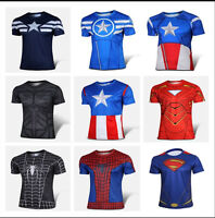 Mens Sports Tops Short Sleeve T-shirt The Avengers Marvel DC Comics Super Heroes