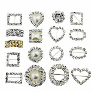 10PCS-HEART-OR-SQUARE-DIAMANTE-RHINESTONE-CRYSTAL-BUCKLE-RIBBON-SLIDERS