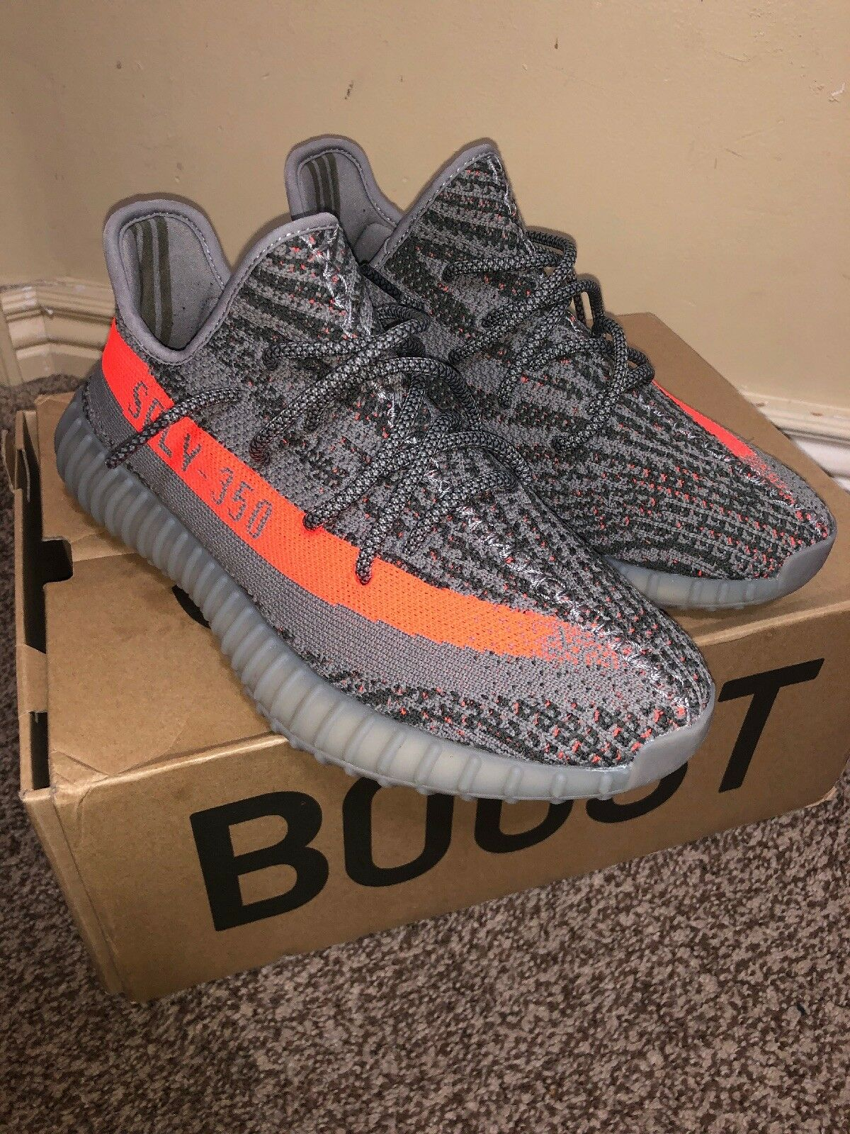 Adidas Men's Yeezy Boost 350 V2 Beluga shoes, Size 8.5, used 3x
