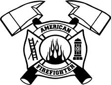 American Firefighter Maltese Cross with Ax Vinyl Decal company rescue hero med