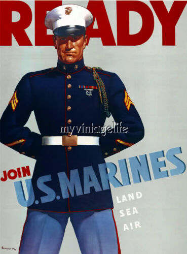 Vintage US Marines Recruiting Poster Quilting Fabric Block 5x7