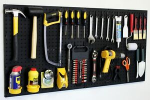 Image is loading Black-Pegboard-Kit-Wall-Storage-Workbench-Organizer-Peg- & Black Pegboard Kit Wall Storage - Workbench Organizer Peg Board Shop ...