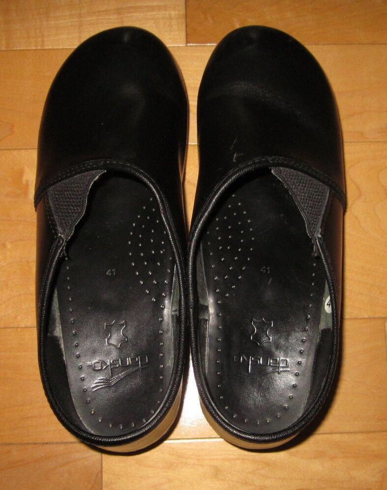 Dansko Womens Black Leather Slip On Closed Shoes Clog Shoes Closed 41 US 9 Ex Cond 66b18d