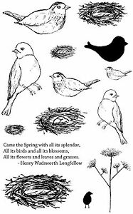 Unmounted-Rubber-Stamps-Feathered-Nest-Birds