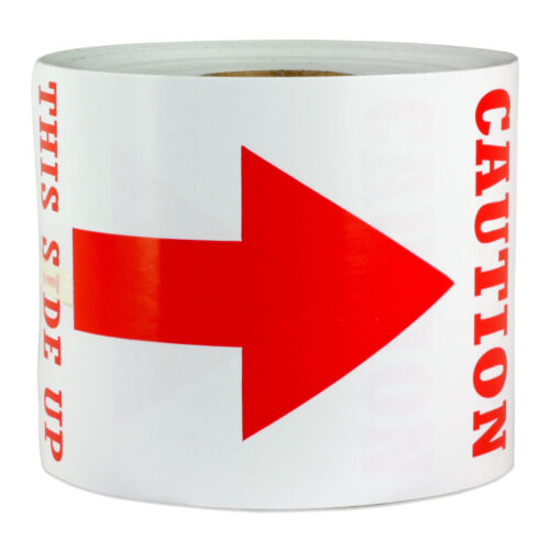 """3/"""" x 5/"""" Caution This Side Up Labels Arrow Shipping Sign Post Warning Stickers"""