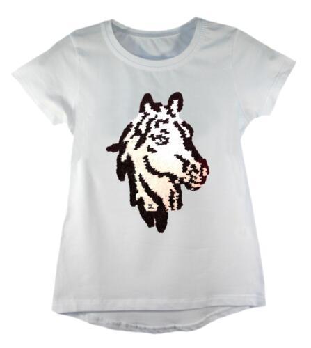KIDS EMOJI EMOTICONS BUNNY HORSE FLAMINGO T-SHIRT TEE TOP BRUSH CHANGING SEQUIN