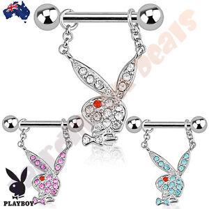 Authentic Playboy 316L Surgical Steel Nipple Ring Bar with Playboy Bunny Dangle