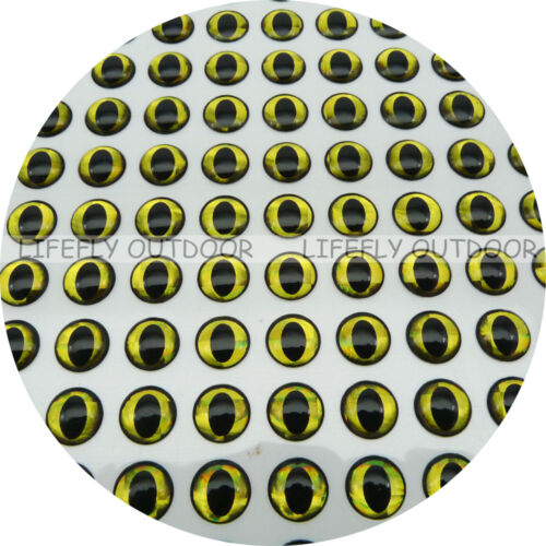 10mm Black Circle Gold Eyes 400 Soft Molded 3D Holographic Fish Eyes Fly Lure