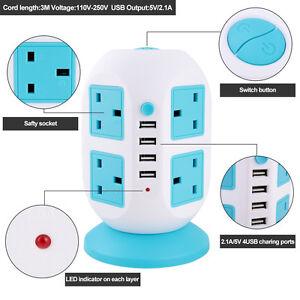 3M-Tower-Strip-Extension-Lead-Socket-8-Ports-4-USB-Vertical-Mains-Plug