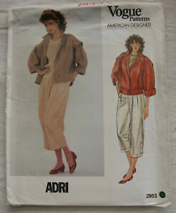 Vintage-Jacket-amp-Pants-Sewing-Pattern-Vogue-2953-Size-12-UNCUT-FF-ADRI-Retro-80s