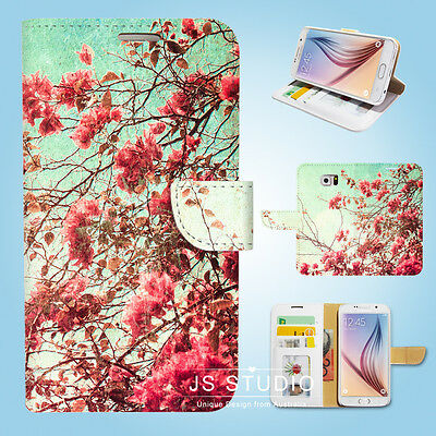 Samsung Galaxy S3 4 5 6 Edge Plus Note Wallet Case Cover Vintage Flower S145