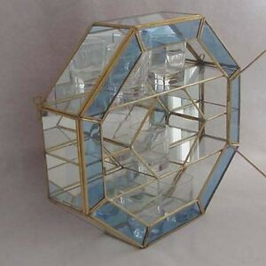 glass brass curio cabinet display case octagon mirror back light blue rim ebay. Black Bedroom Furniture Sets. Home Design Ideas