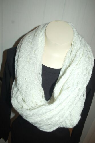 Crochet /& Textured JERSEY KNIT INFINITY SCARF Cowl WHITE w// SILVER ACCENTS 29x74