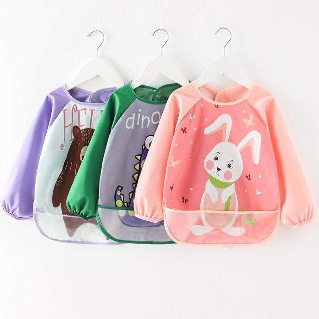 Pink bear bib long sleeved bibs Babies toddlers coverall craft apron Waterproof