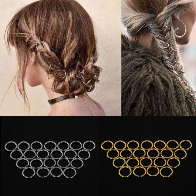 20 Pcs Women Dreadlock Beads Hairpin Hoop Ring DIY Updo Hair Accessories Punk