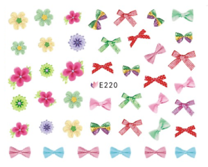 Nail-Art-3D-Decals-Transfers-Stickers-Bows-Ribbons-Flowers-E220