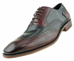 041369cba5051 Asher Green Mens Two Tone Black & Burgundy Genuine Leather Wingtip ...
