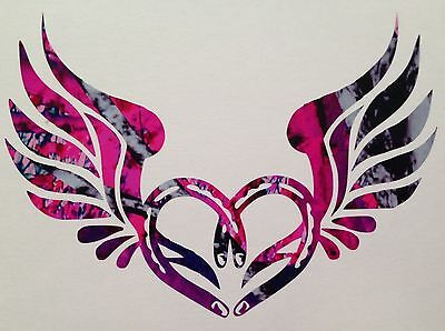 """Horseshoe Wings Heart Vinyl Decal 5"""" Truck Blue Camo Cowgirl Muddy Country Girl"""