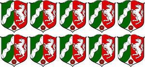 10 x Mini PREMIUM Auto Aufkleber Nordrhein Westfalen NRW Wappen Sticker Motorrad