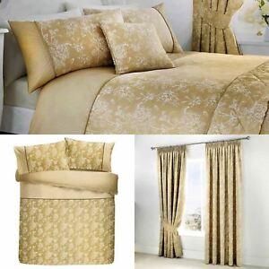 Oro-fundas-nordicas-Jasmine-floral-del-damasco-Edredon-Conjuntos-de-Lujo-Coleccion-de-ropa-de-cama