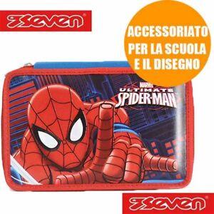 Astuccio 3 Zip Ultimate Spiderman Seven e Accessori Giotto Scuola Bambino Bimbo
