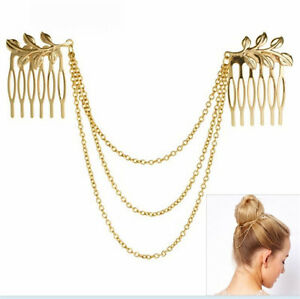 Womens-Vintage-Gold-Metal-Tassel-Leaf-Comb-Cuff-Chain-Jewelry-Headband-Hair-Band
