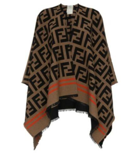 Fendi Wool Silk FF Zucca Shawl Poncho Wrap Top NIB