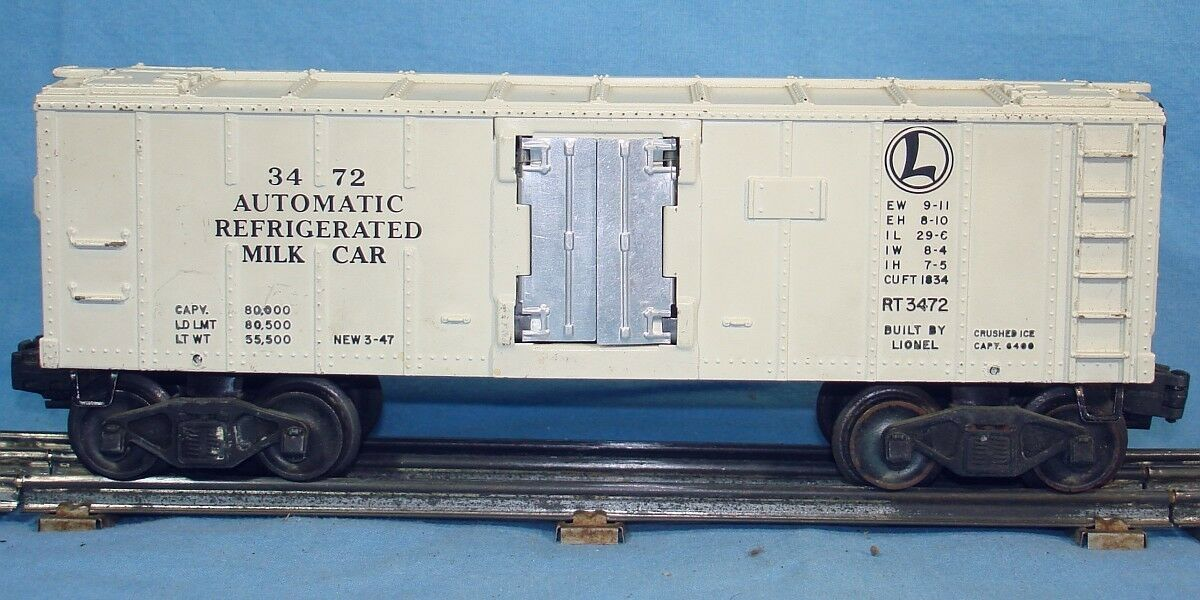 LIONEL LINES O27 GAUGE POSTWAR ELECTRIC TRAINS bianca  REFRIGERATED MILK CAR  3472
