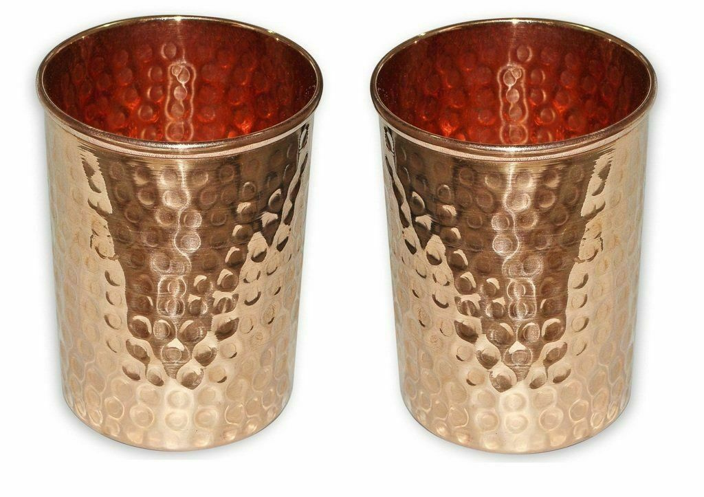 Copper Tumbler Hammered Glass Cup for Healing Ayurveda Product 8.45 Oz