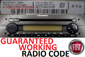 Perfect Working Codes Fiat Punto Doblo Ducato Multipla Blaupunkt Radio Code