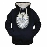 Guinness Label Pullover Hoodie Mens Black Cream Irish Ireland Jacket
