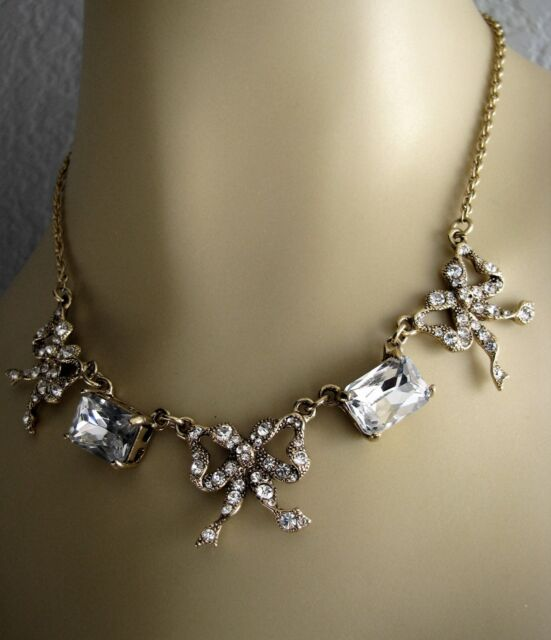 """BETSEY JOHNSON """"ICONIC"""" VINTAGE CRYSTAL BOW CHARM NECKLACE~NWT~RARE"""