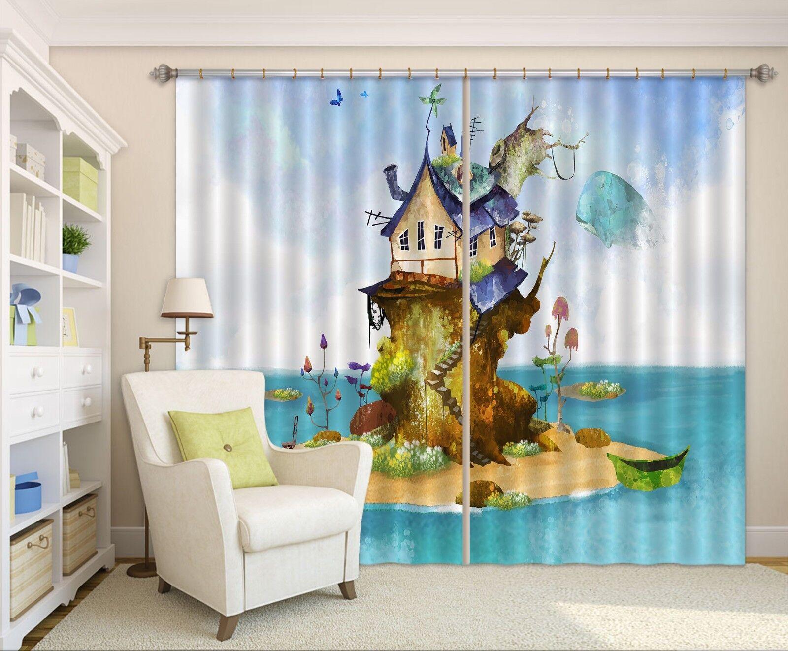3D casa Mar 75 Cortinas de impresión de cortina de foto Blockout Tela Cortinas Ventana au