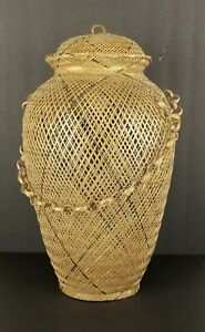 Vintage-Basket-Open-Weave-Handle-Lid-Asian-Decoration-18in-Tall