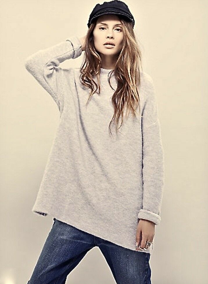 NWT Free People french vanilla OverGrößed Mock Neck Stretch Tunic Sweater M   L