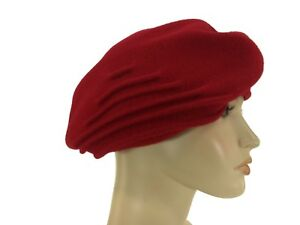 5ca5f6873d9 Laulhere 100% Wool French Beret Hat Berthe Red Made In France 7 5 8 ...