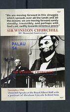 Palau 2015 MNH Sir Winston Churchill 50th Memorial 1v S/S Abraham Lincoln Stamps
