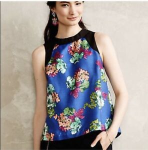 Anthropologie-HD-In-Paris-Azusa-Floral-Sleeveless-Top-Blue-Black-Zip-Back-Size-4