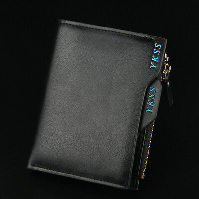 Mens Faux Leather Wallet Bifold Credit/ID Card Photo Holder Coin Purse Black