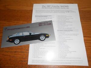 1987 porsche 924s owners sales brochure 1 page foldout like new original
