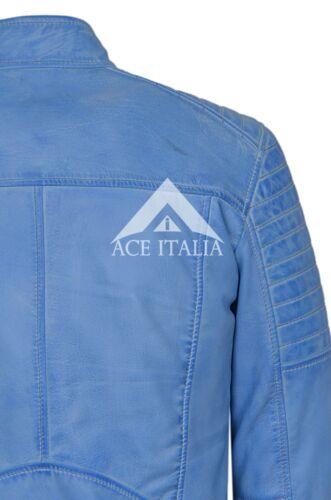 Mens Leather Jacket Quilted Shoulder Biker Style Blue Crust Leather Jacket 2565