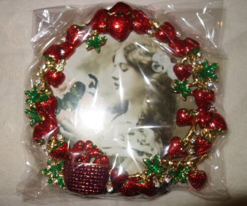 Taylor Avedon collectible Enamel Crystals Photo picture Frame strawberries new
