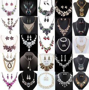 Fashion-Crystal-Women-Bib-Pendant-Chain-Statement-Necklace-Earrings-Jewelry-Set