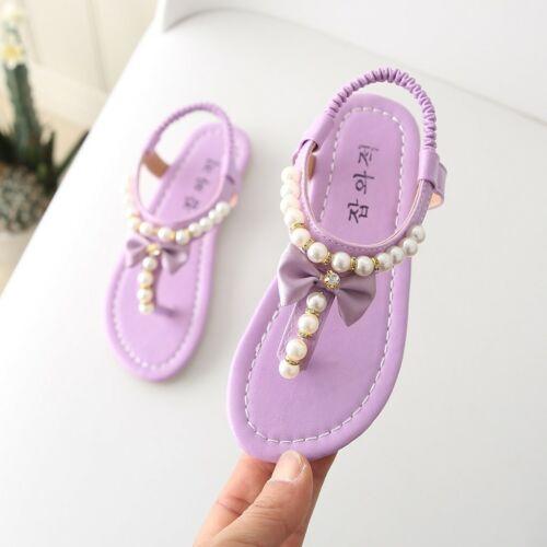 Verano Del Niño Infante Niños Bebé Niñas Moño Perla Princesa Sandalias Zapatos