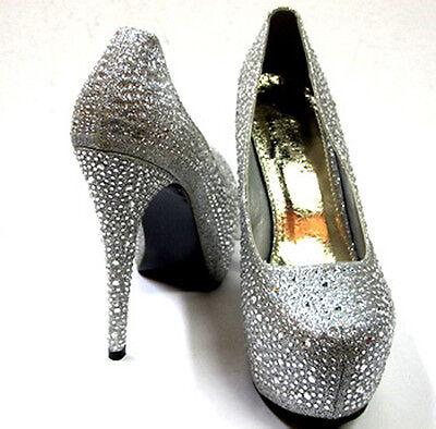 Womens Vogue Pumps Platform High Heel Toe Rhinestone Shoes Party Stiletto, Sizes