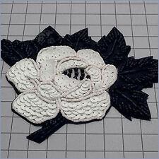 CHALK WHITE BLACK SEQUIN BEADED FLOWER APPLIQUE 2138-N