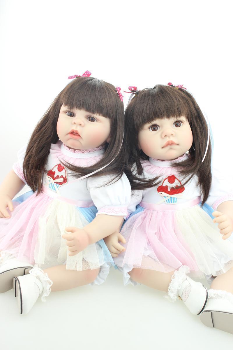 22  2 un. realista Reborn Bebé VINILO DE SILICONA MUÑECAS TWINS Niña Hermanas Para Niños De Regalo