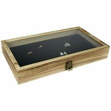 Wood Glass Top Jewelry Display Case Wooden Jewelry Tray For Collectibles Oak