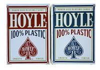 2 Decks Hoyle 100% Plastic Standard Poker Playing Cards Red & Blue Decks